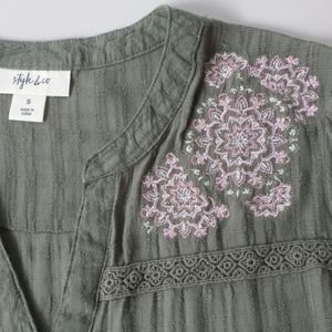 Style & Co Olive Embellished Boho Top, Size Small